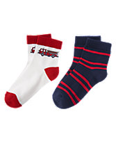 Fire Truck & Striped Socks Two-Pack