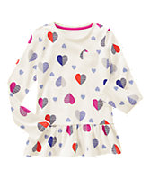 Heart Print Peplum Top