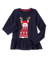 Holiday Bear Peplum Top
