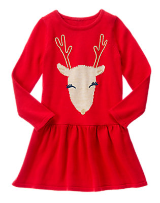 Girls cheerful red reindeer sweater dress by gymboree