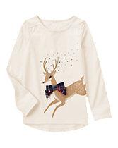 Reindeer Sparkle Long Sleeve Tee