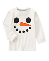Snowman Smile Long Sleeve Tee