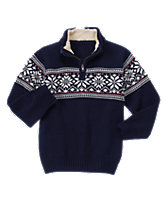 Sherpa-Collar Fair Isle Sweater