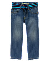 Belted Straight Jeans