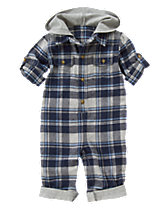 Hooded Plaid One-Piece