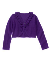 Ruffle-Trim Cropped Cardigan