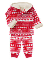 Fair Isle Hooded 2-Piece Set