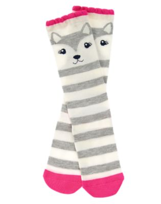 Striped Puppy Knee Socks