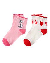 Cat & Heart Socks 2-Pack