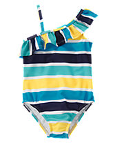 Striped 1-Piece Swimsuit