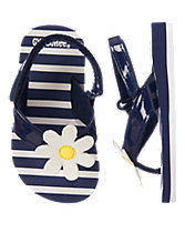 Daisy Striped Flip Flops