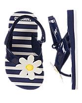 Daisy Striped Flip Flops