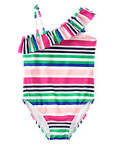 Striped 1-Piece Swimsuit