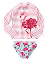 Flamingo Rash Guard Set
