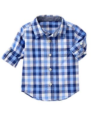 Toddler Boys Tidal Blue Plaid Plaid Shirt by Gymboree