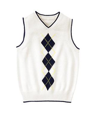 Boys White Argyle Sweater Vest by Gymboree