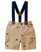 Puppy Suspender Shorts