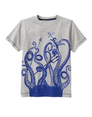 giant squid on tshirt for boys