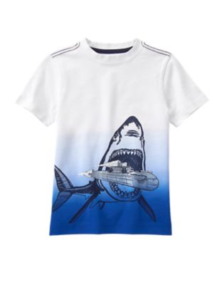 shark with a submarine tshirt for boys