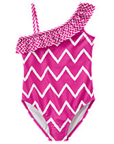 Chevron 1-Piece Swimsuit