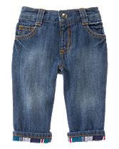 Plaid Cuff Jeans