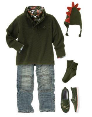 Boy's Playful Plaid-osaurus Outfit by Gymboree