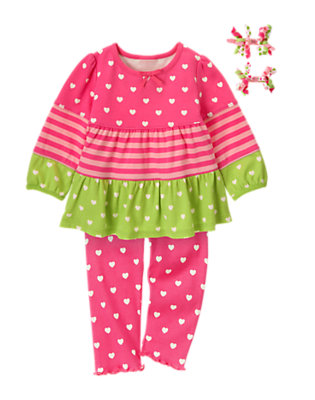 Toddler Girl's Hearts & Stripes Outfit by Gymboree