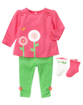 Flower Green Outfit by Gymboree