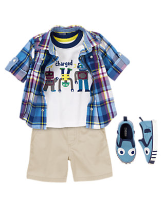 Powered Up Plaid Outfit by Gymboree