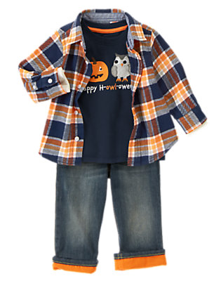 Toddler Boy's Pumpkin Patch Plaid Outfit by Gymboree