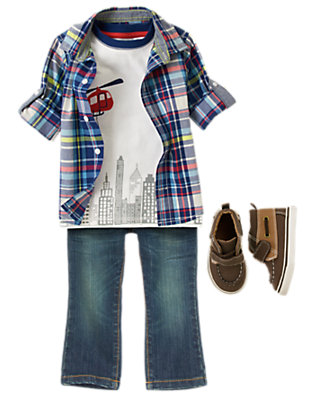 Toddler Boy's Plaid Patrol Outfit by Gymboree