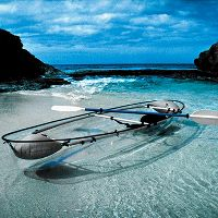 Transparent Hybrid Canoe/Kayak at Hammacher Schlemmer :  transparent canoe transparent canoe kayak