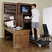 Armoire and Desk with Built-In Fitness Center
