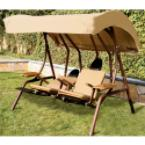Dual-Reclining Covered Lounge Swing