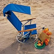 Only Folding Swivel Sun Chair at Hammacher Schlemmer :  swivel chair beach schlemmer outdoor chair