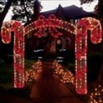 illuminated 3 d candy cane archway illuminated outdoor christmas decorations - Candy Cane Outdoor Christmas Decorations