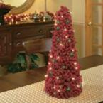 Pre-Lit Tall Red Berry Topiary