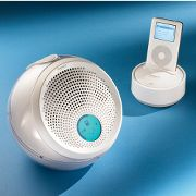 Wireless iPod Speaker at Hammacher Schlemmer :  hammacher three-speaker charging base hammacher schlemmer