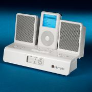 Portable iPod Travel Alarm Clock at Hammacher Schlemmer :  travel ipod shuffle electronic reson8