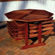 Self-storing Wood Patio Table and Chairs