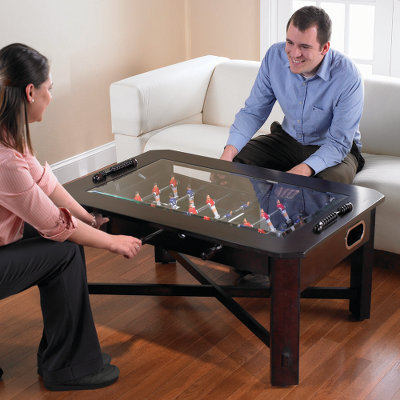 Foosball Coffee Table, a cool wooden furniture with tempered glass or indoor sports for your living room :  foos ball game living room furniture home furniture