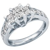 2ct TW Radiant Cut Three-Diamond Ring