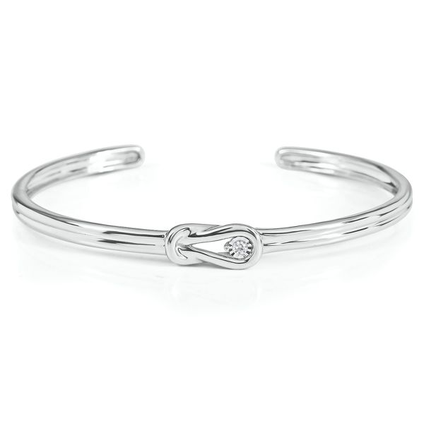 Everlon™ Diamond Knot Bangle Bracelet in Sterling Silver