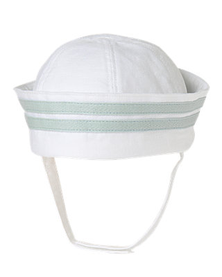 Pure White Linen Sailor Hat at JanieandJack