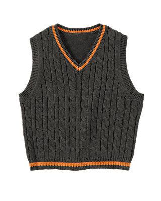 Asphalt Grey Cable Sweater Vest at JanieandJack