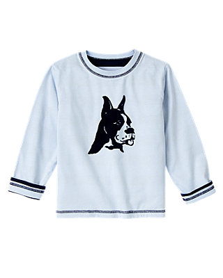 Rugby Blue Reversible Boxer Dog Tee at JanieandJack
