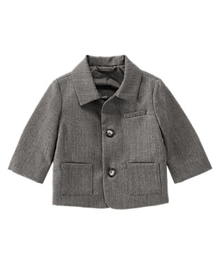 Baby Boy Charcoal Grey Herringbone Suit Jacket at JanieandJack