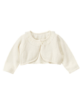 Jet Ivory Tulle Trim Crop Cardigan at JanieandJack