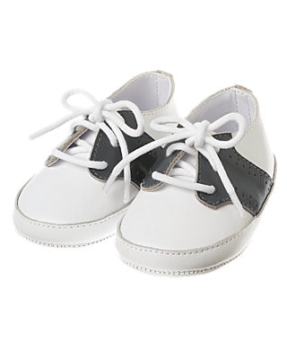 White Leather Saddle Crib Shoe at JanieandJack