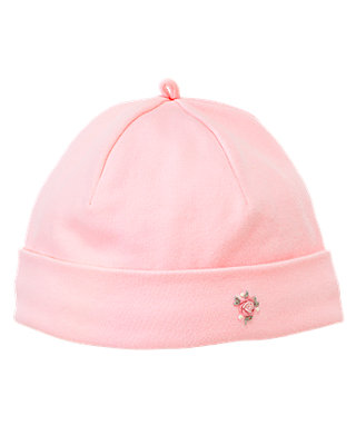 Marshmallow Pink Hand-Embroidered Rosette Beanie at JanieandJack